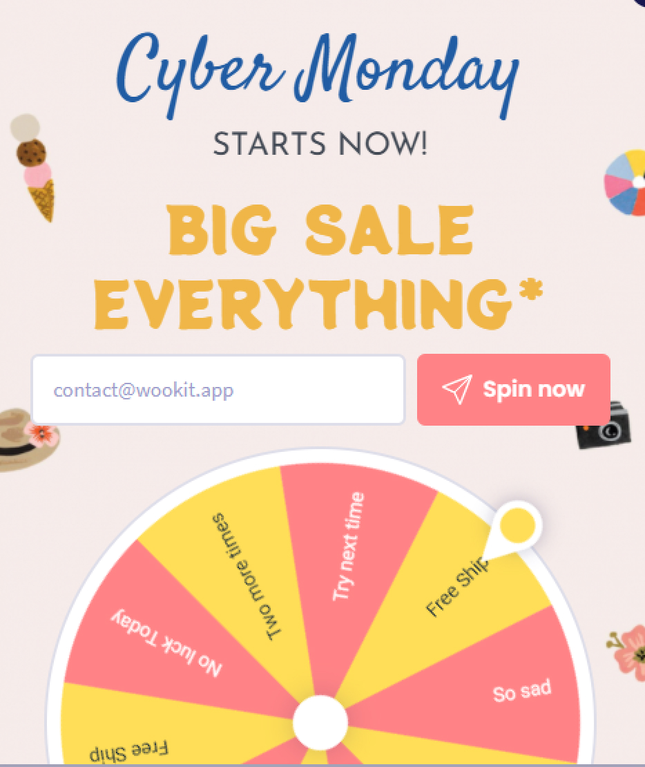 Win Wheel - Black Friday and Cyber Monday 2