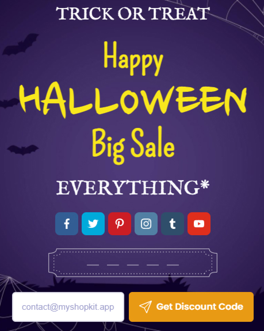 Halloween - Collect emails by sharing coupon