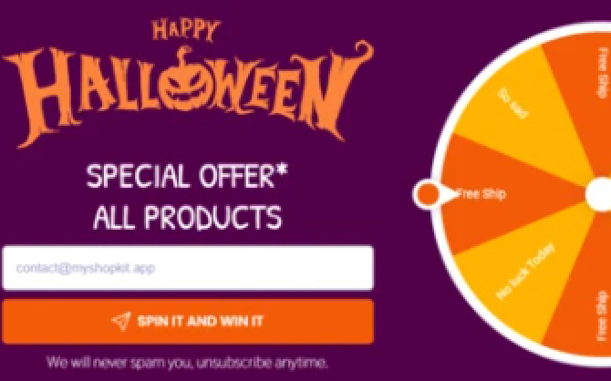 Halloween - Collect Emails with Win Wheel