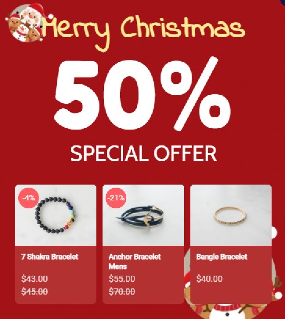 Xmas Products Recommendation With Amazing Popup